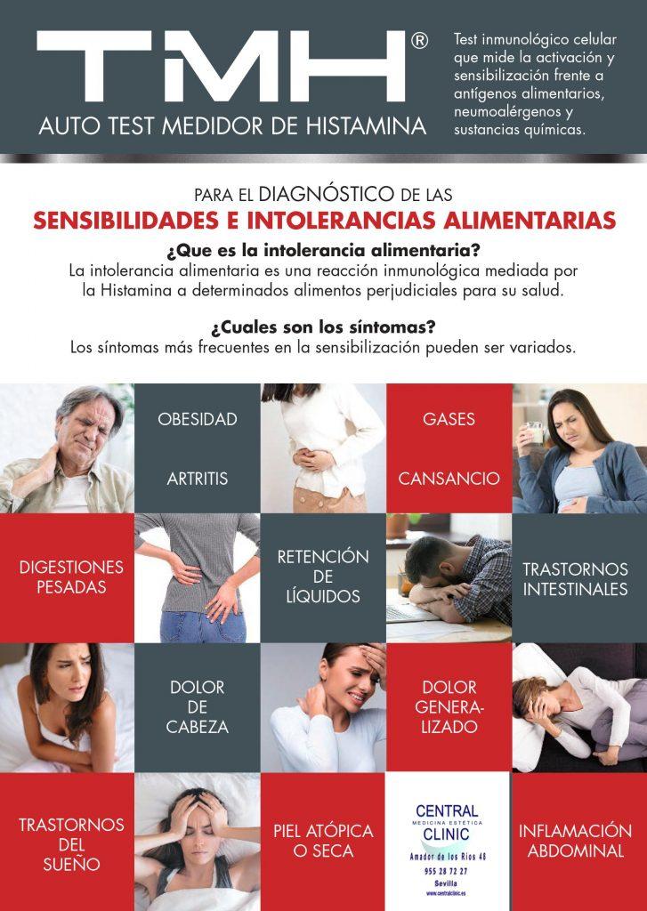 TMH. Tes medidor de Histamina. e intolerancias alimenticias.  Central Clinic Sevilla. Telf. 955 287 227